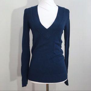 Express Soft Deep V Neck Navy Blue Sweater S